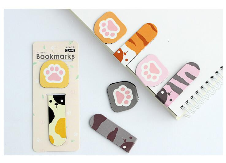 2pcs/pack Per Lot Animals Footprint Magnetic Bookmarks Office&School Fashion Christmas Gift Zakka Styles