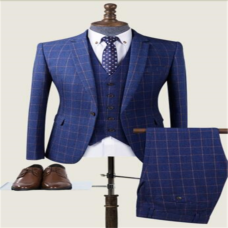 Custom Made Men Blue Windowpane Check Pattern Suits Retro Gentleman Classic Men Slim Fit Blue Plaid Casual Wedding Suit