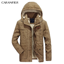 CARANFIER 2017 Men Winter Fleece Jacket 100% Cotton Coat Military Tactical Fashion Casual Businessmen Outerwear Men Coats