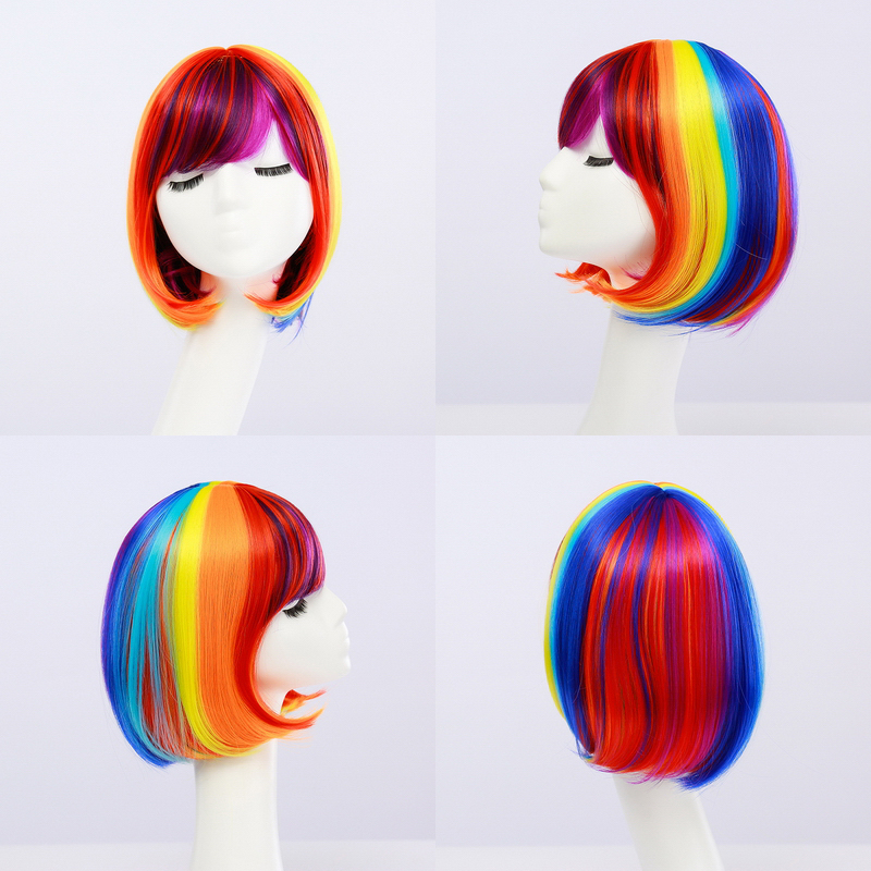 Cheap Rainbow Bob Wig Synthetic Hair Straight Anime Cosplay Natural Short Colorful Wigs For Women Free Shipping 12inch
