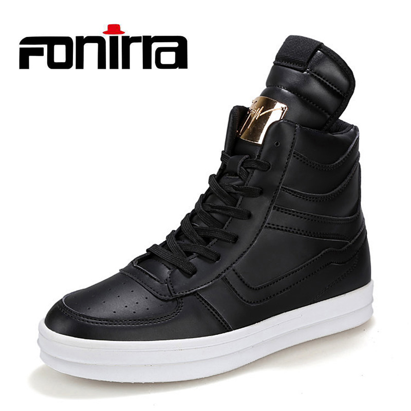 FONIRRA New Fashion High Top Casual Shoes For Men Ankle Boots PU Leather Lace Up Breathable Hip Hop Shoes Large Size 45 728 mycolen high quality men white leather shoes fashion high top men s casual shoes breathable man lace up brand shoes
