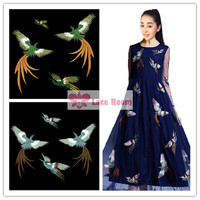 Phoenix Bird Embroidery Combination Cloth Patch Dress Clothes Garment Decorative Handmade DIY Patch Applique Free Shipping