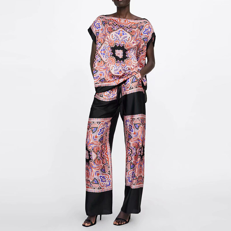 Fashion Summer Blouse Pants Sets Loose Floral Short Sleeve Tops High Waist Straight Pants Sets Casual XZ1932