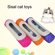 2017 Pet Cat Kitten Kitty Toy Long Rolling Scratching Toys Ball Sisal Scratch Post Trapped Ball Training Tool Animal Supplies