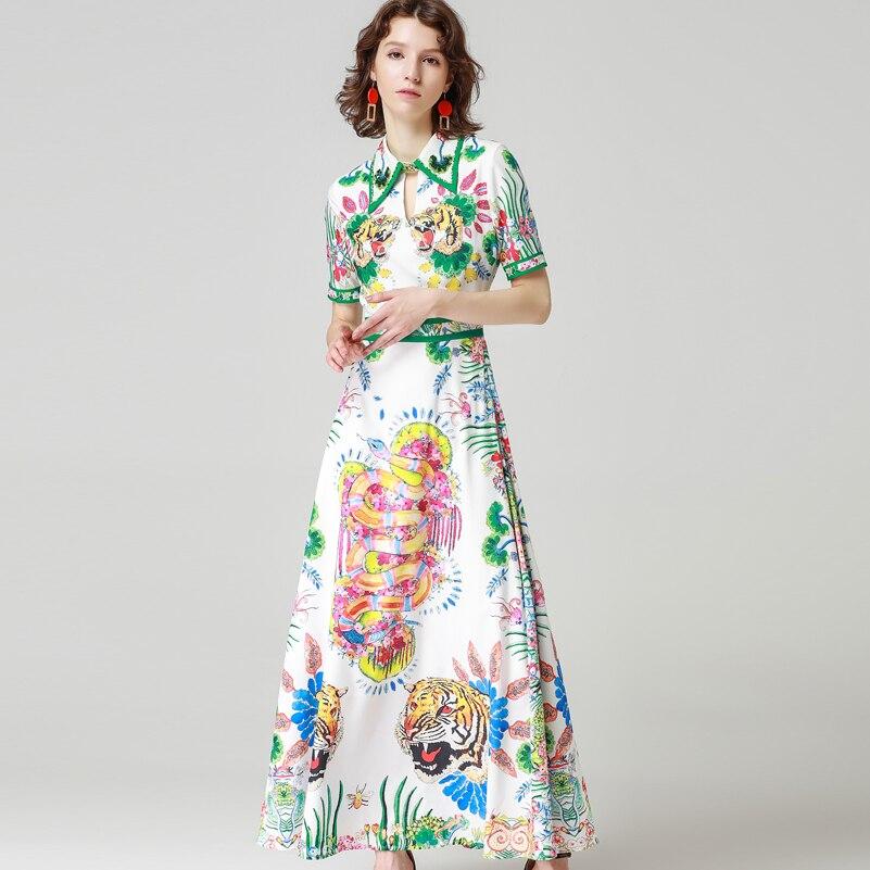 High Quality 2019 Designer Summer Long Dress Women s Short Sleeve Vintage Animal Printed Beading Casual
