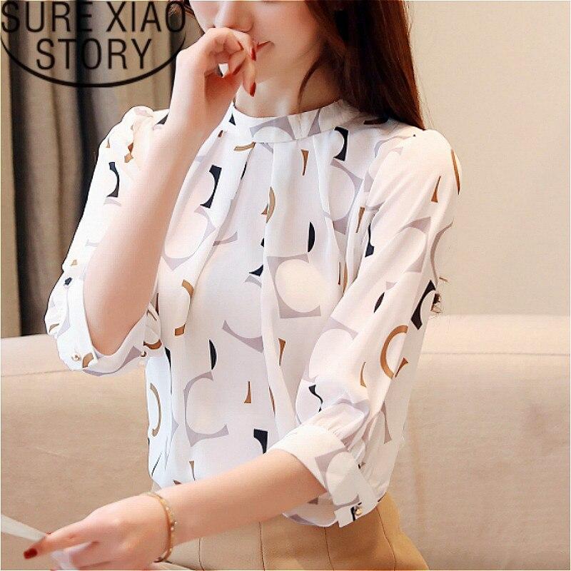 blusas mujer de moda 2019 korean fashion clothing womens tops blouses shirts ladies tops Chiffon blouse white shirt  2480 50