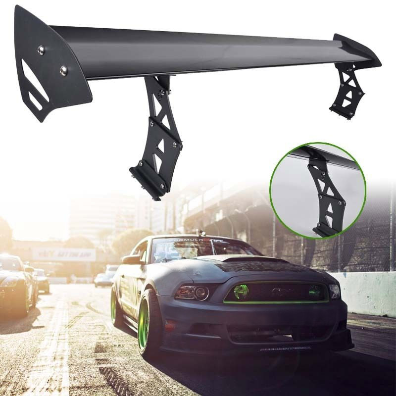 Universal Black Car Rear Trunk GT Wing Spoiler Adjustable Aluminum Alloy Auto Car Rear GT Wing Spoiler hb universal high quality lightweight aluminum double deck gt spoiler rear spoiler wing racing black for auto car