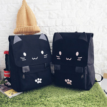 Cute Cat Canvas Backpack Cartoon Embroidery Backpacks