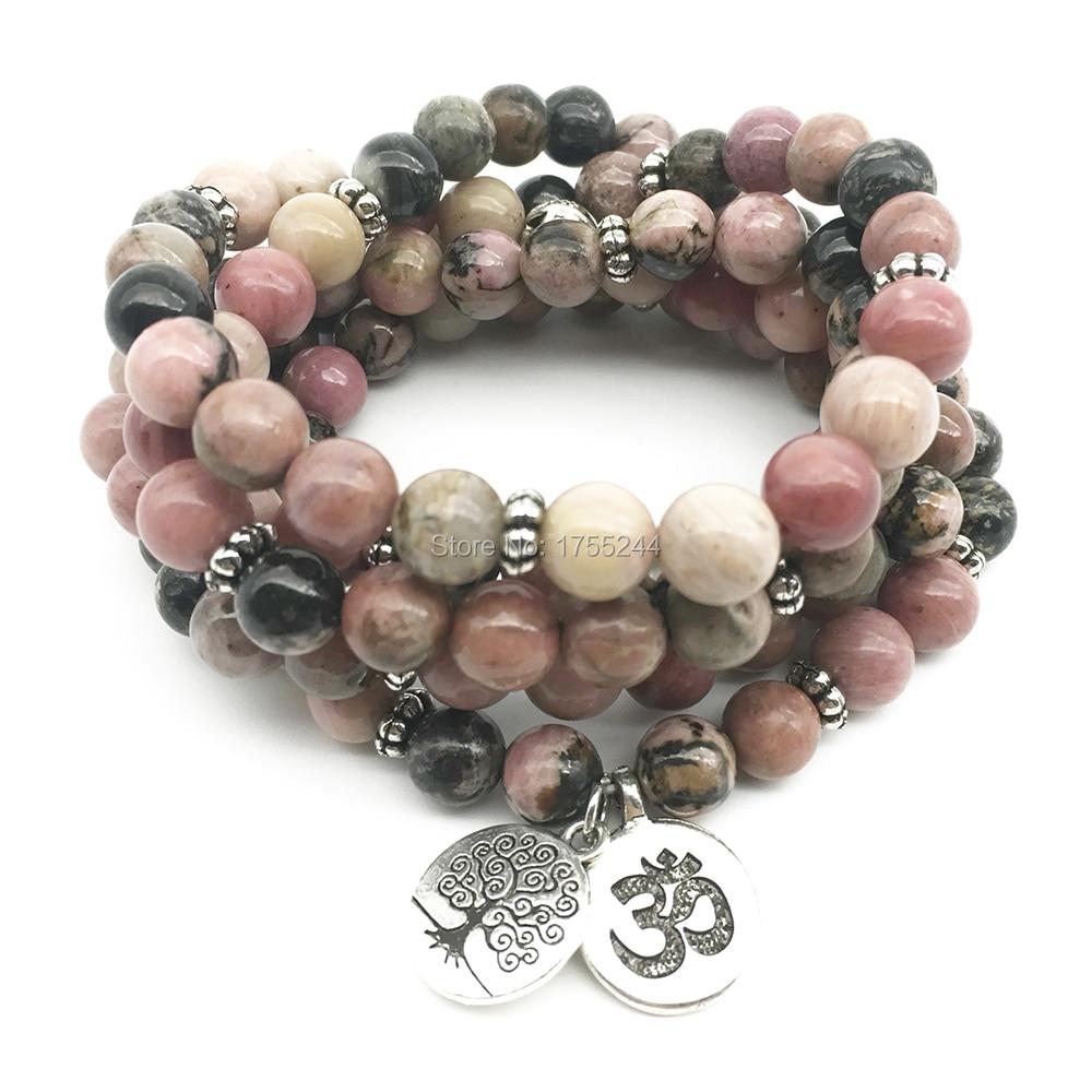 SN1374 Ohm arbre de vie Bracelets perlés 108 Bracelet Mala pour femmes naturel noir veine Rhodonite pierre Bracelet livraison gratuite-in Bracelets ficelle from Bijoux et Accessoires    1