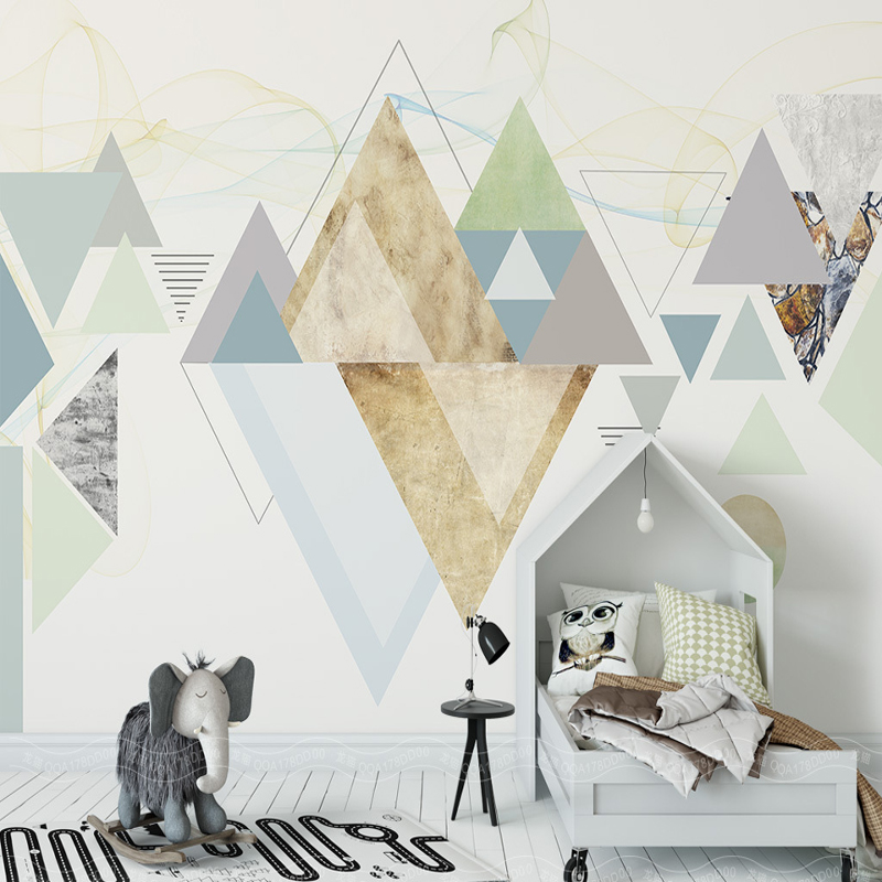 modern fashion abstract wallpaper simple geometric minimalism triangle large wall mural modern painting background wallpaper modern 3 color adjustable triangle