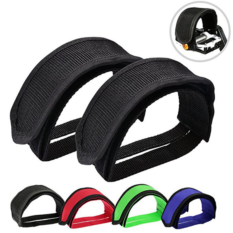 1 Pair Fixed Gear Road Bikes Bicycle Cycling Adhesive Pedal Toe Clips Strap Belt