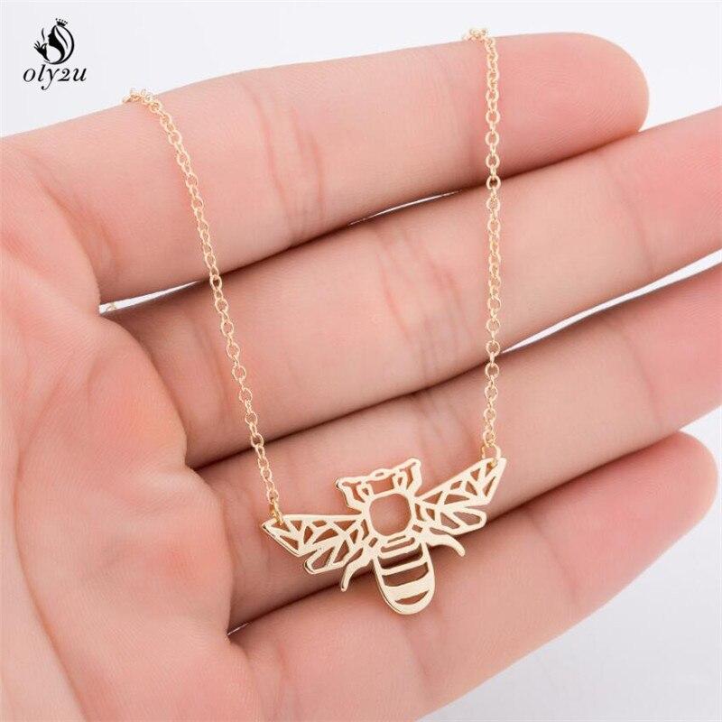 Oly2u Origami Bee Necklace Bug Charm Female and Male Gift Animal Necklace Bug Necklace &Pendants Party Women Geometric Jewellery