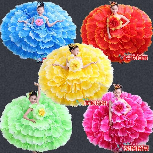 new Children 's dance costume expansion skirt costume modern dance performance wear petal skirt spanish flamenco dress 540 720