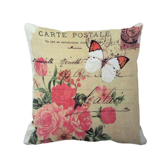 Decoration Carte Postale.Us 6 88 Butterfly With Flora In Carte Postale Printed Custom Decorative Cushion Covers Vintage Throw Pillow Case For Home And Sofa Chair In Cushion