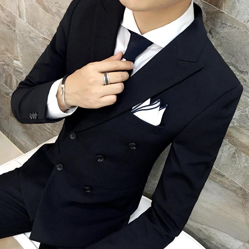 Chaqueta + Pantalones/hombres marca de lujo Formal Casual Delgado Formal traje de negocios macho Blazer novio trajes de boda gris y negro-in Trajes from Ropa de hombre    2