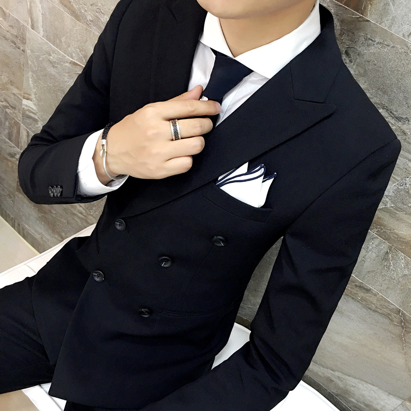 Jacket + Pants / Mens Luxury Brand Formal Casual Slim Formal Business Suit Male Blazer Groom Wedding Suits Set Gray and Black 1