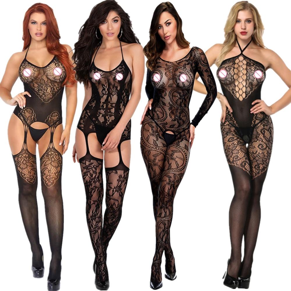Женские прозрачные открытая промежность нижнее белье сексуальное Эротическое белье Боди тела костюмы вырезами