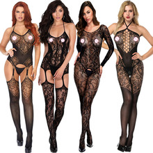 Womens transparent Open Crotch Bodystocking Sexy Erotic Lingerie Teddies Body suits Crotchless bodysuit sleepwear Tights 165(China)