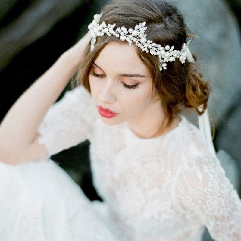 handmade silver floral pearl headband leaf wedding headpiece bridal crystal tiara hair accessories vintage women headbands