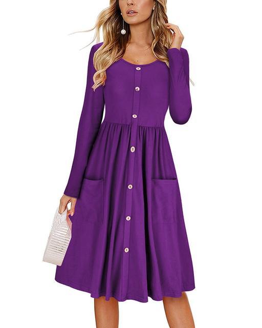 Elegant Long Dress Women O-neck Long Sleeve Party Vintage Dress Autumn Boho Pocket Button Dress Solid Vestido Korean Plus Size