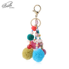 Badu Key Chain Colorful Pompom Lobster Clasp Ring Bag Hanging Pendant Decoration Vintage Bohemian Wholesale