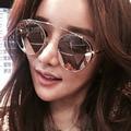 AFOFOO New Женская Мода Солнцезащитные Очки Luxury Brand Дизайнер Металл Дамы Зеркало Солнцезащитные Очки Круглые Линзы UV400 Оттенки Очки