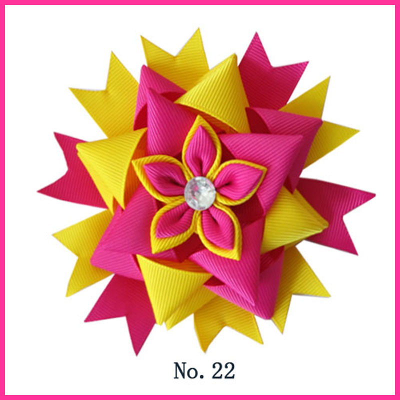 50 BLESSING Good Girl Boutique Modern Style 4.5 Pyramid Hair Bow Clip