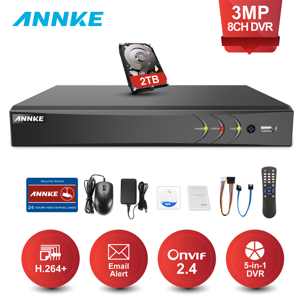 ANNKE DVR 8CH 8-канальный Камера 3MP TVI/CVI/AHD/IP/CVBS 5 в 1 DVR NVR цифрового видео Регистраторы видеонаблюдения Системы наблюдения