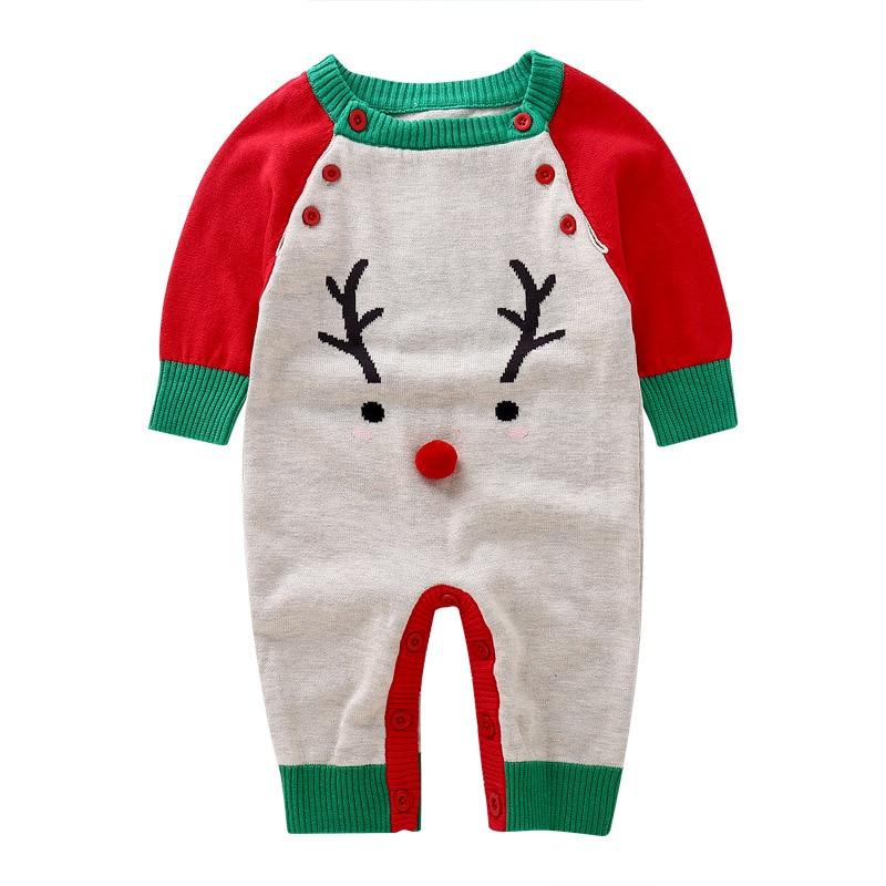 Осень-зима для маленьких девочек мальчиков Рождественский олень шерсть Комбинезоны Длинные рукава Джемперы детей восхождение новый матер...