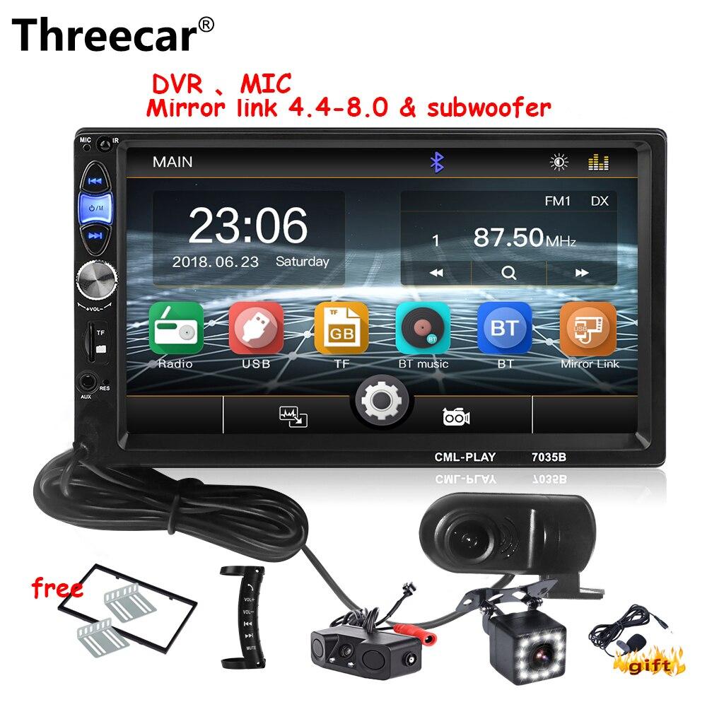 Threecar 2 din Car Radio 7HD Autoradio Multimedia Player 2DIN Touch Screen Auto audio Car Stereo MIC MP5 Bluetooth USB DVR Radio