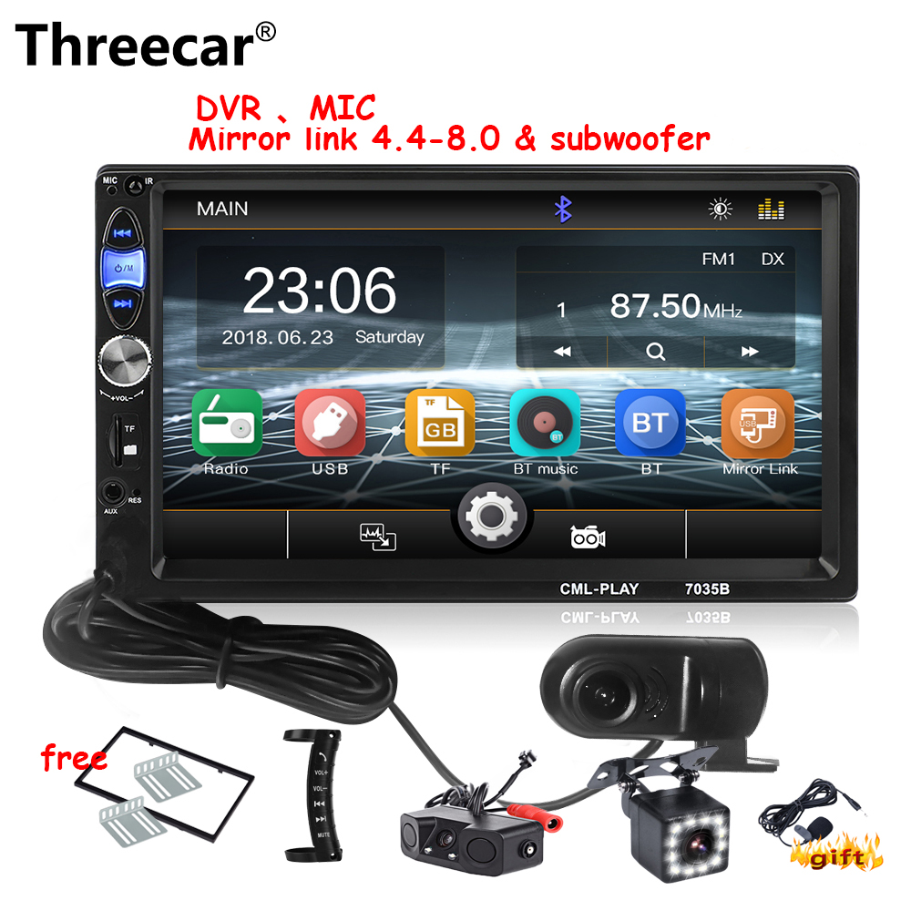 Threecar Autoradio 2 din 7HD Autoradio Lecteur Multimédia 2DIN Automatique D'écran Tactile audio Voiture Stéréo MICRO MP5 Bluetooth USB DVR Radio
