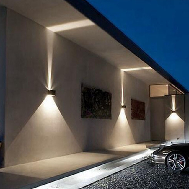 Quality super bright IP65 12W outdoor wall light ajustable square black white Sconce Decorative lighting Porch Garden home