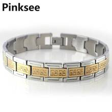 Promotion~! Fine Quality Mens Gold Tone Stainless Steel Bracelet 3pcs/lot A++ Free Shipping [B345*3]