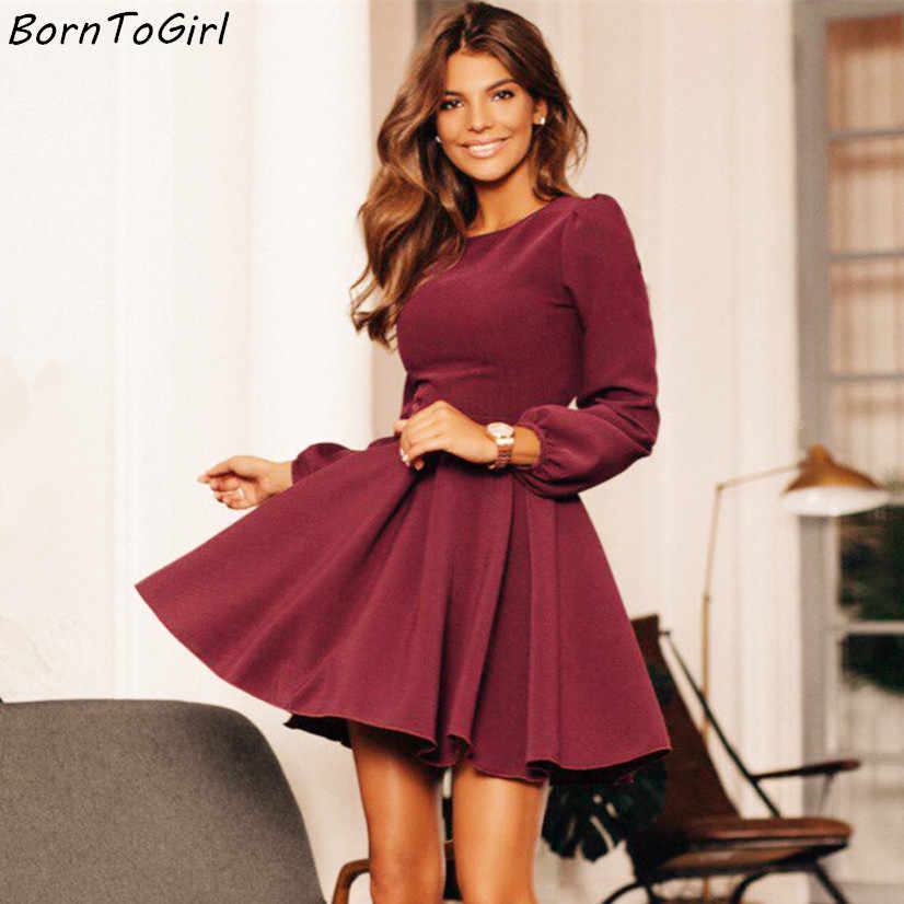 BornToGirl Women Vintage Slim A-Line Dress Spring Autumn Winter female Long Sleeve Black Wine Red Dress robe hiver 2018 femme