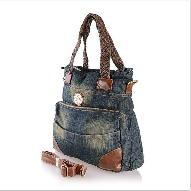free shipping 2017 new lace cowboy cloth bags hand the bill of lading shoulder bag Denim Handbag the new leather ladies bags fashion trend in hand the bill of lading shoulder bucket bag handbag free postage