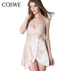 Coswe xxl lace pink women silk gown sexy nightshirts white lace nightgown women nightdress womens dressing.jpg 250x250