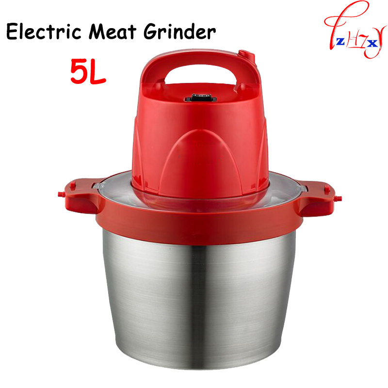 Commercial household electric meat grinder large capacity 5L stainless steel crushed garlic pepper ginger slice cuisine HB-808 portable stainless steel electric pepper spice salt milling grinder red silver 6 x aaa
