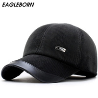 New Autumn Winter Men S Baseball Cap Keep Warm Corduroy Male Hat With Protective Ear Thickening