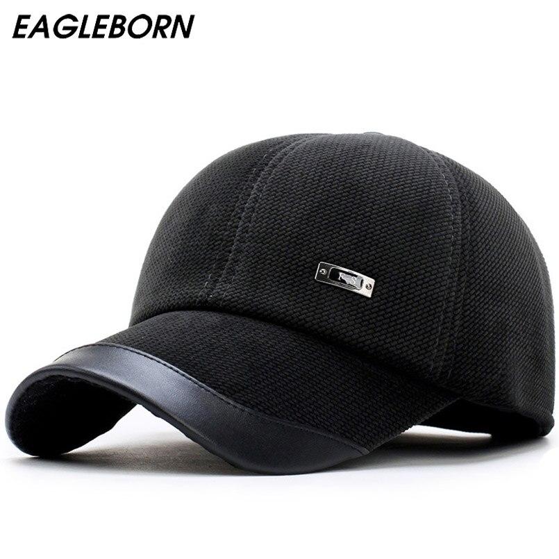 Nuevo Otoño Invierno gorra de béisbol de los hombres mantener caliente de pana hombre sombrero de protección oído engrosamiento polar forro de lana snapback sombrero