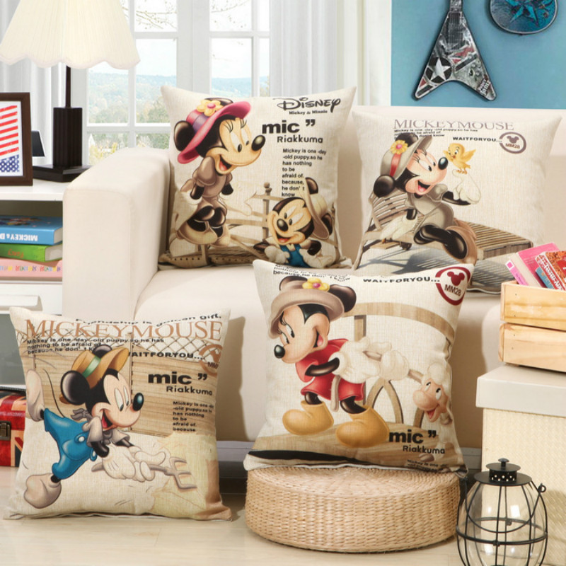 wholesale 4 colors classic Mickey decorative cushion covers for sofa car office bedding cushion cover 45x45cm
