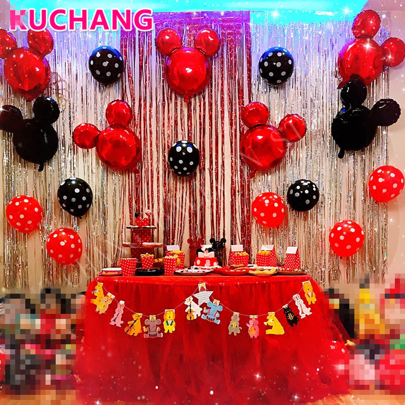 20pcs/lot Large Red Black Mickey Head Foil White Dot Latex Balloons Girls Princess Birthday Theme Party Decorations Supplies