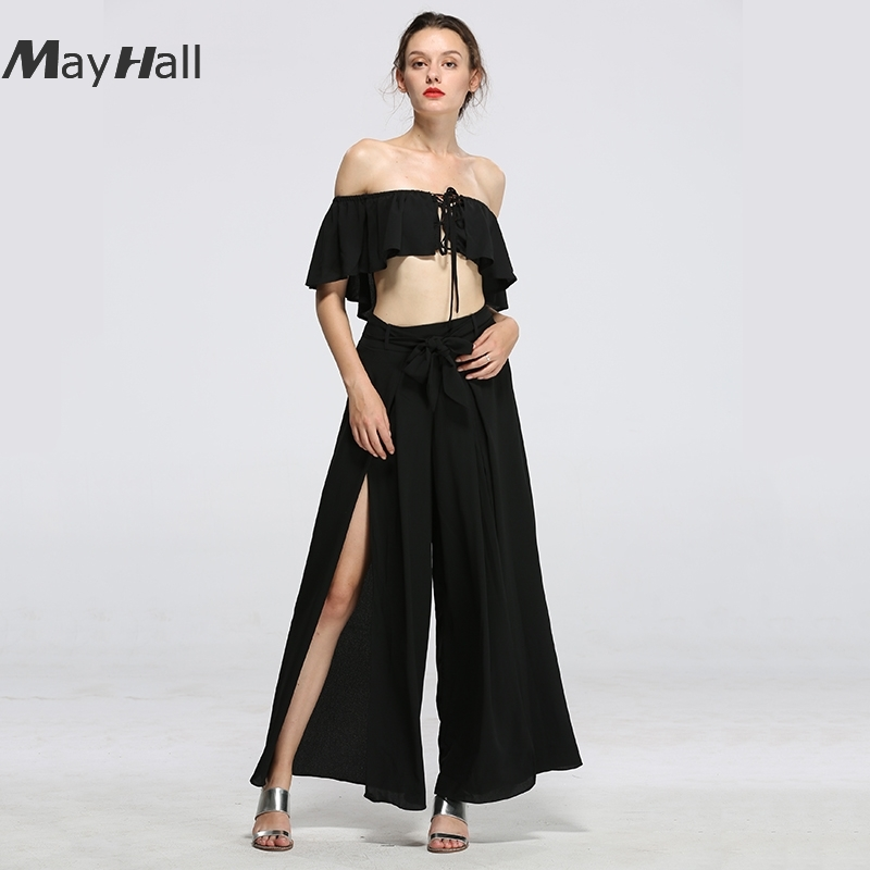 MayHall Summer Sexy 2018 Lace Up 2 Piece Set Women Strapless Ruffles Ladies Elegant Lace Hollow Out Bandages Splite Suit MH153