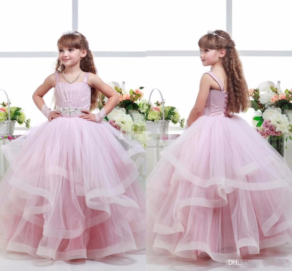 2017 Pink Ball Gown   Flower     Girl     Dresses   Spaghetti Beaded Sash Ruffles   Girls   Pageant   Dresses   Baby Party Gowns