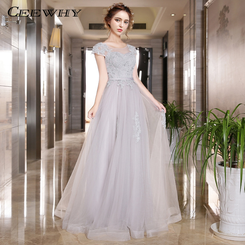 CEEWHY Long   Evening     Dresses   2019 Vestido de Festa Abendkleider Embroidery Robe de Soiree Prom Party Gown Wedding Party   Dresses