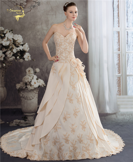 Jeanne Love Royal Sweetheart A Line Wedding Dresses 2018 New Applique Lace Champagne Color Bridal Gown