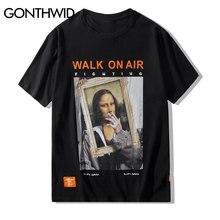 GONTHWID Smoking Mona Lisa T Shirts Men Women Funny  Hip Hop Casual Printed Short Sleeve Tshirts 2020 Fashion Male Streetwear