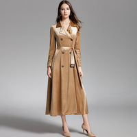 Spring New Women Trench Coat Fashion Elegant Gold Velvet Long Sleeve Double Breasted Long Windbreaker Lace Up Coat Outerwear