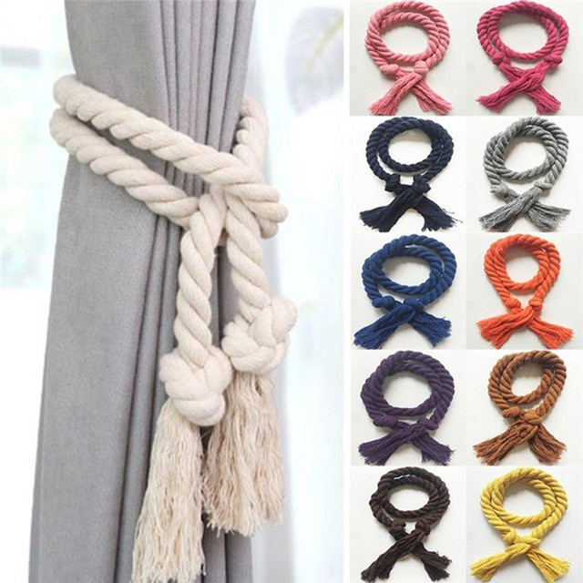 2 pcs/set Curtain Buckles Tie Rope Solid Color Curtain Tieback Holder Clips For Curtains Hand Weaving Cotton Linen Rope