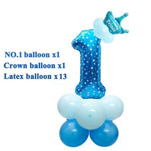 Image 4 - Heronsbill 1st Glücklich Geburtstag Party Dekorationen Meine Erste Baby Junge Mädchen Helium Anzahl 1 Luftballons Banner Cupcake Topper Liefert