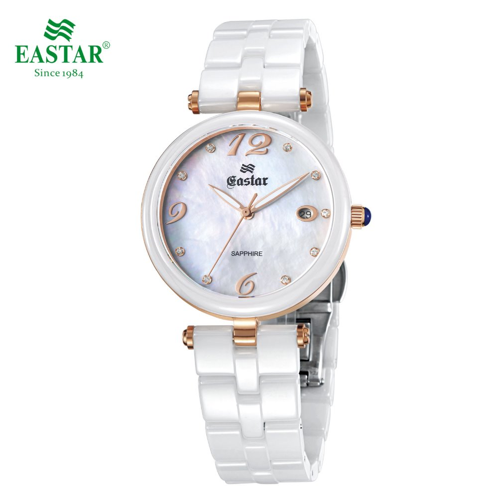 Eastar Elegant White Women Quartz Wrist Watch Waterproof Diamonds Index Porcelain Band Stainless Steel Fold-over Clasp auto digital clamp meter mastech ms2108a pincers ac dc current voltage capacitor resistance tester aimometer multimeter amper